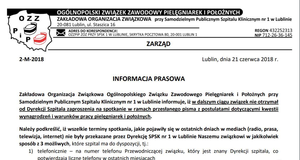 Komunikat prasowy SPSK nr 1 w Lublinie
