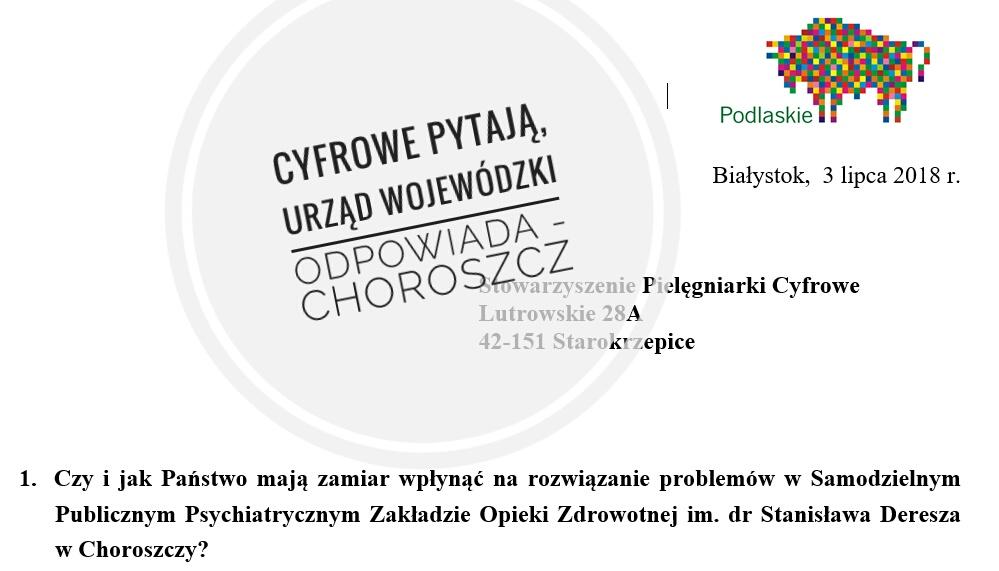 Odpowiedź Urzędu Marszałkowskiego w Choroszczy na pytania Pielęgniarek Cyfrowych