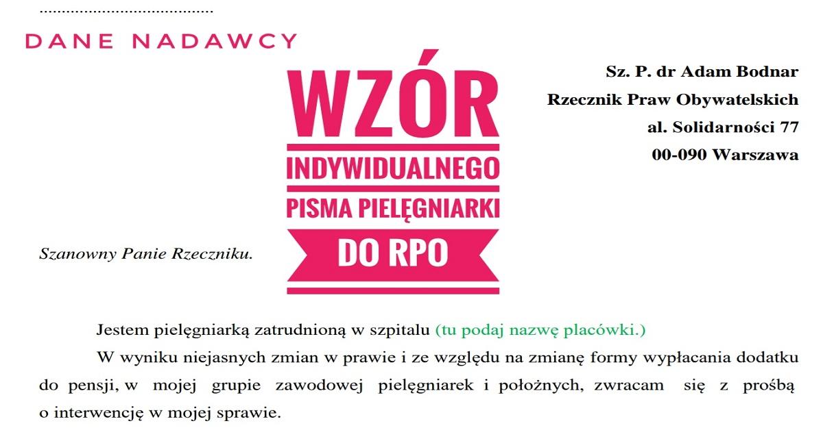 """Wzór indywidualnego pisma pielęgniarki do Rzecznika Praw Obywatelskich – """"Matki pakietu Szumowskiego"""""""
