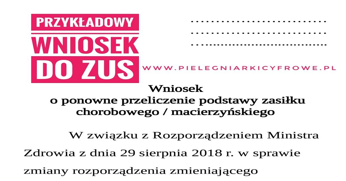 """Wzór wniosku do ZUS w celu ponownego przeliczenie podstawy zasiłku chorobowego/macierzyńskiego – """"Matki pakietu Szumowskiego"""""""