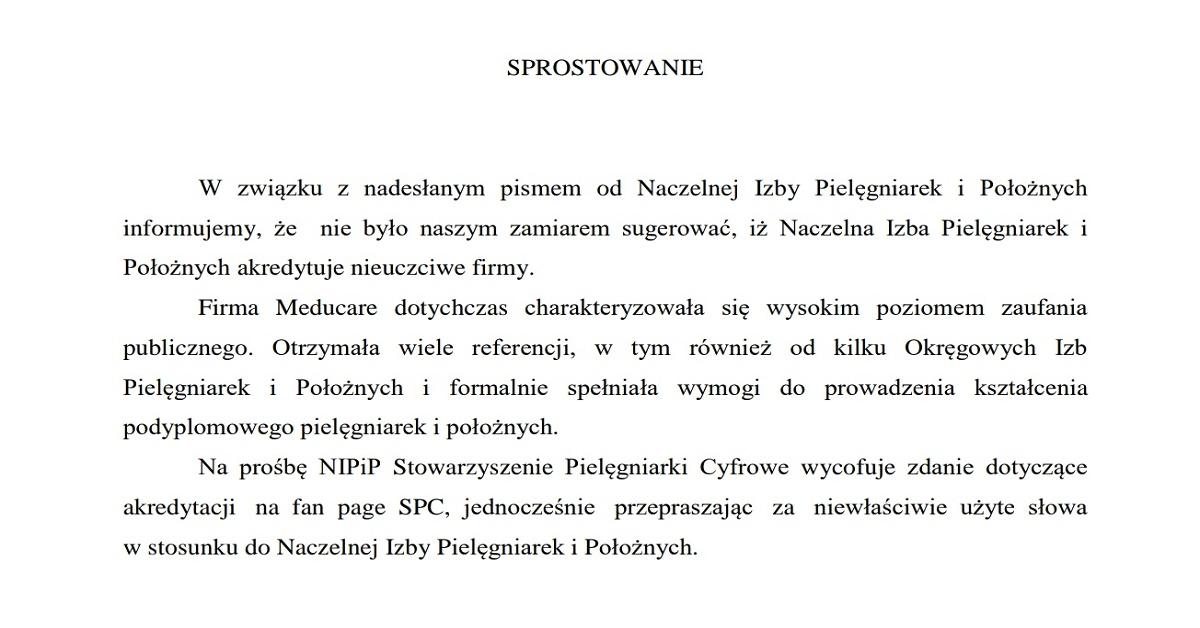 Sprostowanie SPC w odpowiedzi na pismo NIPIP